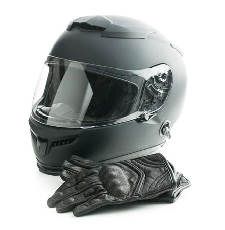 オートバイ ヘルメット、革手袋白い背景に分離されました。 写真素材