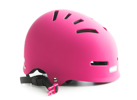Pink bike helmet isolated on white background.