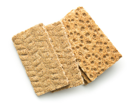 galletas integrales: The healthy crispbread isolated on white background.
