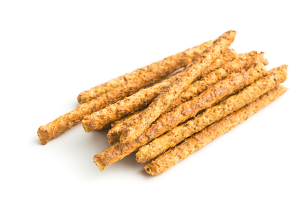 Salty pretzel sticks isolated on white background.