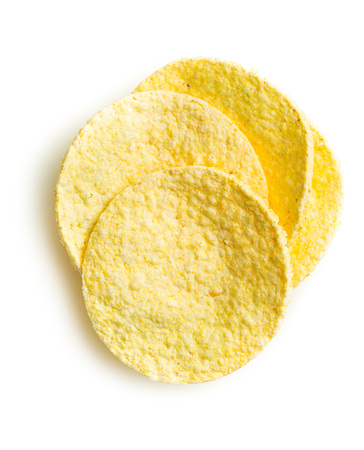 galletas integrales: Tasty corn crispbread isolated on white background.