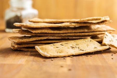 The healthy crispbread on wooden table. Stock Photo