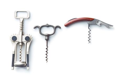 Vari tipi di corkscrews isolati su sfondo bianco. Archivio Fotografico - 76354991