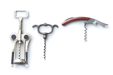 Various types of corkscrews isolated on white background.