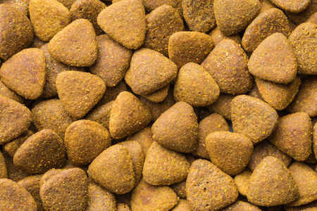 kibble: The dry kibble dog food. Top view. Stock Photo