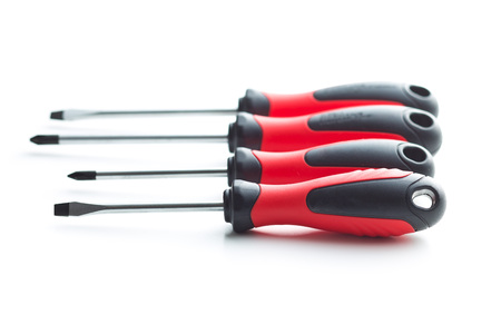 The hand screwdrivers isolated on white background.