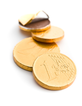 The euro currency . Chocolate coins isolated on white background.