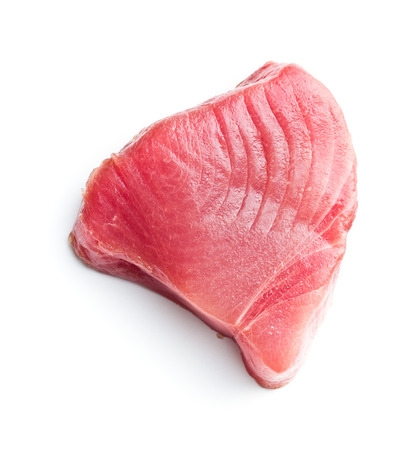 Fresh raw tuna steak isolated on white background. 版權商用圖片