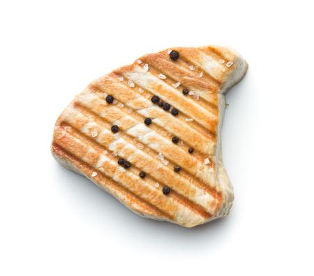 Grilled tuna steak isolated on white background. Stock Photo