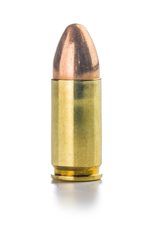 9mm ammo: 9mm pistol bullet isolated on white background.