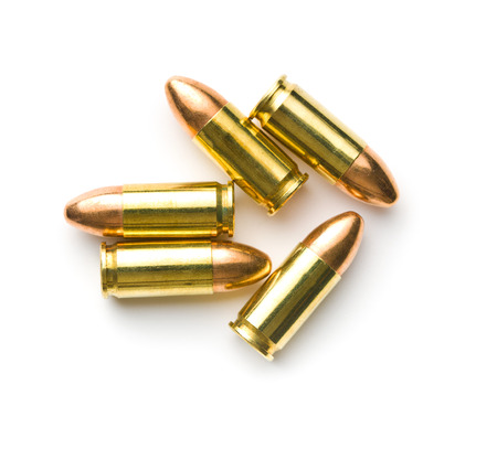 9mm ammo: 9mm pistol bullets isolated on white background.