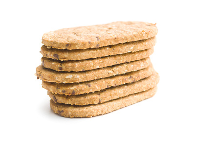 Tasty oatmeal cookies isolated on white background.