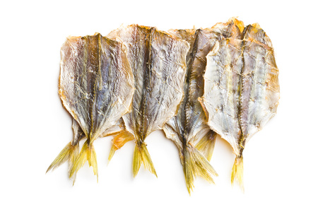 Dried salted fish isolated on white background.