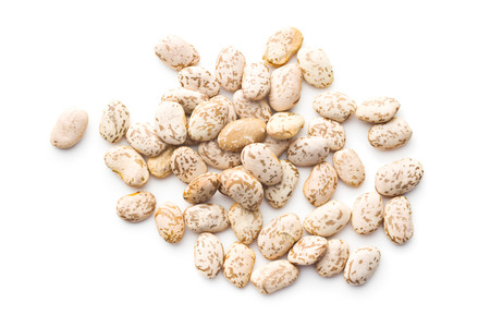 Dried borlotti beans isolated on white background. Top view. Archivio Fotografico