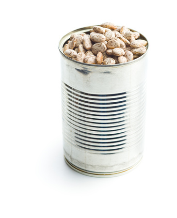 Dried borlotti beans in tin can isolated on white background.