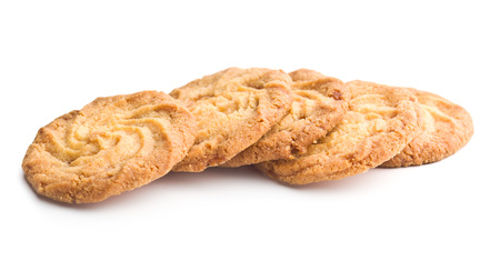 Sweet buttery cookies isolated on white background.
