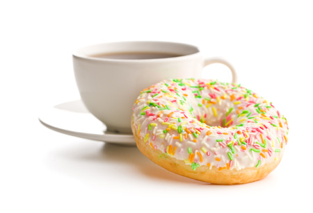 Sweet donut and coffee cup isolated on white background.