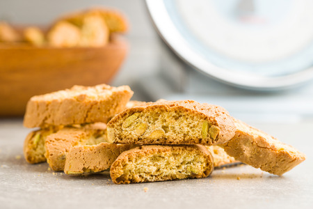 Sweet cantuccini biscuits on kitchen table.