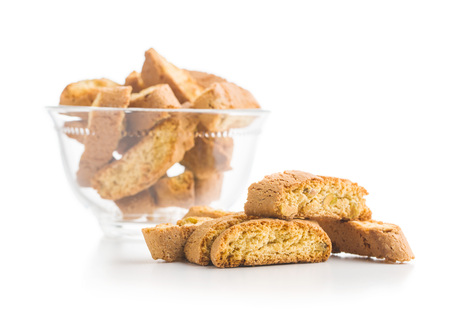Sweet cantuccini biscuits isolated on white background. Archivio Fotografico
