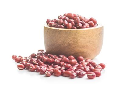 Red adzuki beans isolated on white background.