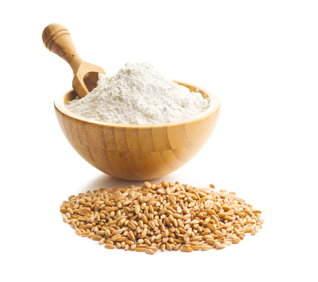 Harina de trigo integral y granos de trigo en un recipiente aislado sobre fondo blanco.
