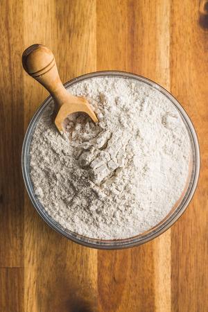 Whole grain wheat flour in bowl.