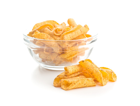 Rolled tortilla chips isolated on white background.