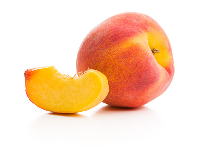 Sweet peaches fruit isolated on white background.