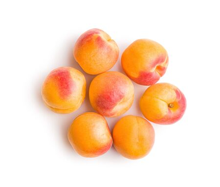 Sweet apricot fruits isolated on white background.