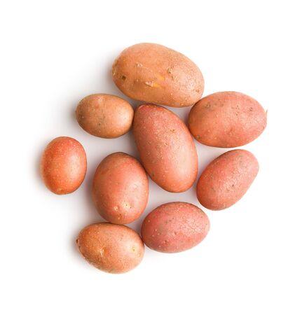 Verse aardappelen. Rauwe aardappelen geïsoleerd op een witte achtergrond. Stockfoto