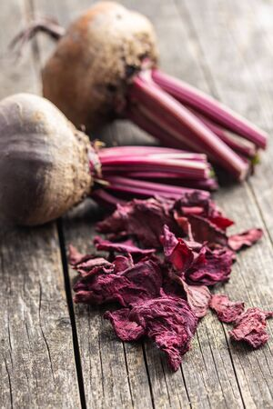 Tasty raw beetroot and dried beetroot. Healthy vegetable.