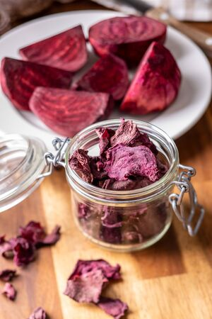 Tasty raw beetroot. Dried beetroot in jar.