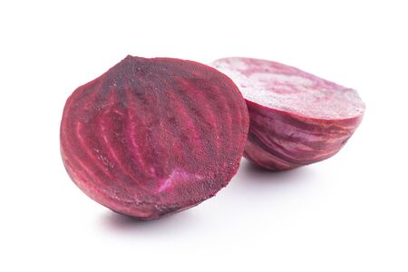 Tasty raw beetroot. Sliced beetroot isolated on white background.