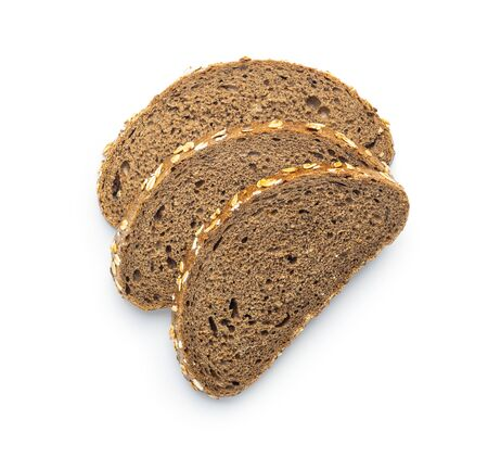 Sliced whole grain bread with oat flakes. Wholemeal bread isolated on white background.