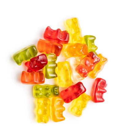 Gummy bears, jelly candy. Colorful bonbons isolated on white background. 版權商用圖片