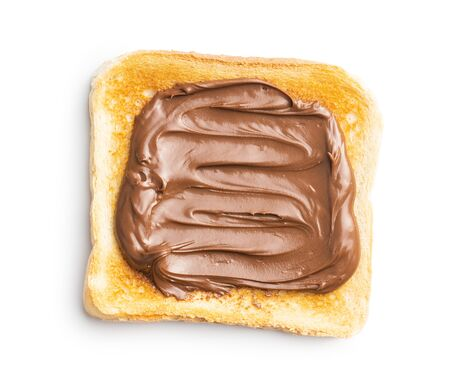 Toast bread with hazelnut spread. Sweet chocolate cream isolated on white background.