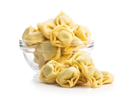 Tortellini pasta. Italian stuffed pasta isolated on white background.