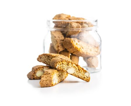 Sweet italian cantuccini cookies. Almonds biscuits isolated on white background.