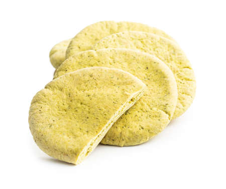 Indian pita bread isolated on white background.