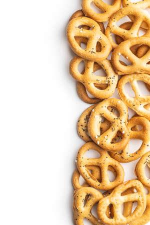 Crispy salted pretzels isolated on white background