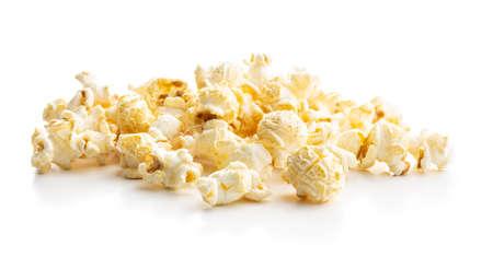 Sweet tasty popcorn isolated on white background.