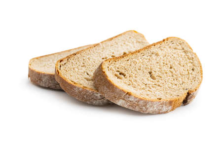Sliced homemade bread isolated on white background.