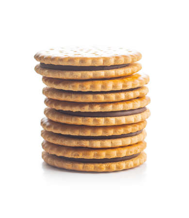 Sweet sandwich cookies isolated on white background.