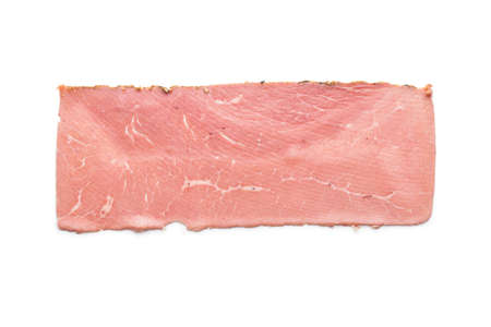 Sliced beef ham isolated on white background.
