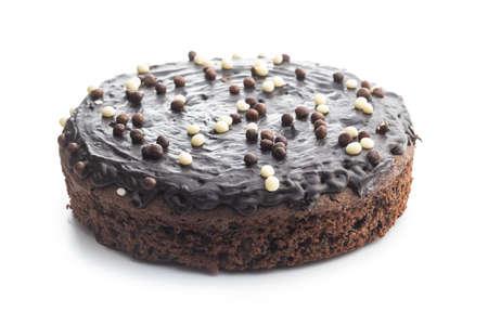 Sweet chocolate cake isolated on white background. 免版税图像