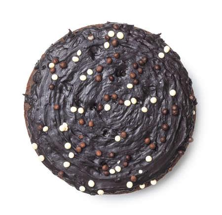 Sweet chocolate cake isolated on white background. Imagens