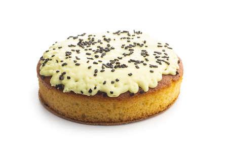 Sweet lemon cake isolated on white background. Imagens