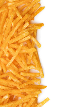 French fries. Fried mini potato sticks isolated on white background. Imagens