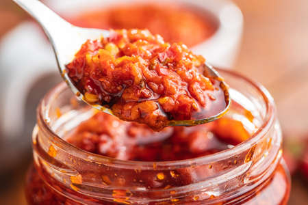 Red hot chili paste on spoon. 版權商用圖片 - 161522645