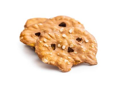 Salted mini flat pretzels isolated on white background. 版權商用圖片 - 161648137